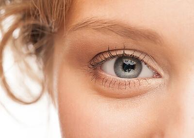 close up womans eye